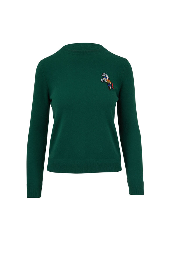 Chinti & Parker Green Metallic Horse Cashmere Sweater