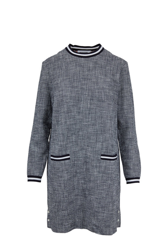 Thom Browne Navy Tweed Long Sleeve Shift Dress