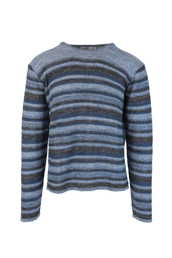 Inis Meain Knitting Co. Blue Striped Linen Crewneck Sweater