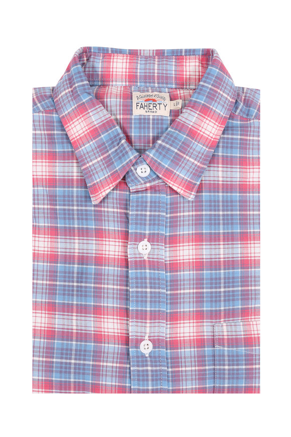 Faherty Brand Ventura Red & Blue Plaid Sport Shirt