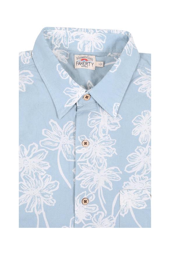 Faherty Brand Light Blue Floral Print Short Sleeve Sport Shirt