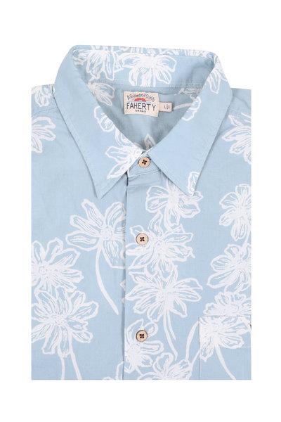 Faherty Brand - Light Blue Floral Print Short Sleeve Sport Shirt