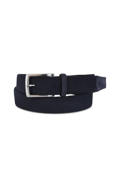 Torino - Navy Blue Woven Elastic Belt