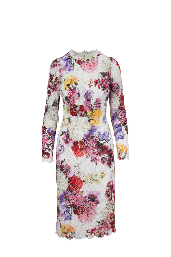Dolce & Gabbana Multicolor Lace Floral Long Sleeve Sheath Dress