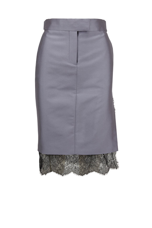 Tom Ford Smoke Lace Hem Pencil Skirt