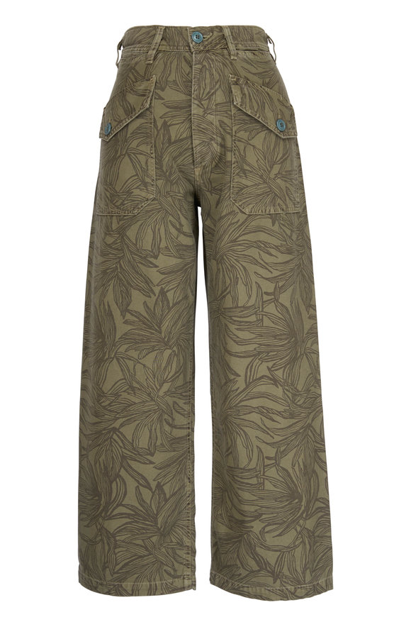 Citizens of Humanity Una Palm Green Printed Wide Leg Pant