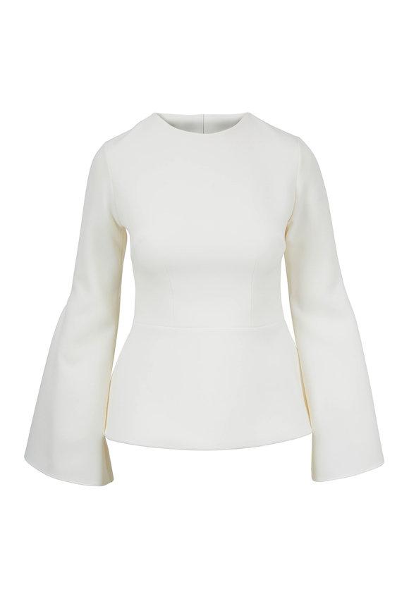 Safiyaa Ida Ivory Stretch Cady Slit-Sleeve Top