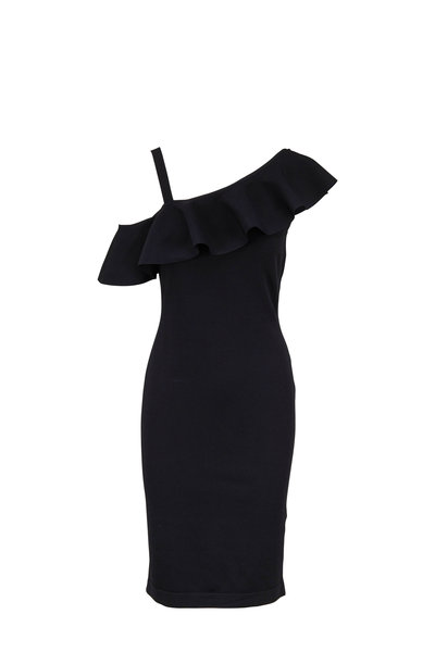 D.Exterior - Black Jersey Ruffled One-Shoulder Dress