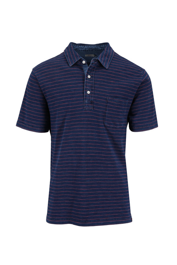 Faherty Brand Indigo & Red Striped Short Sleeve Polo
