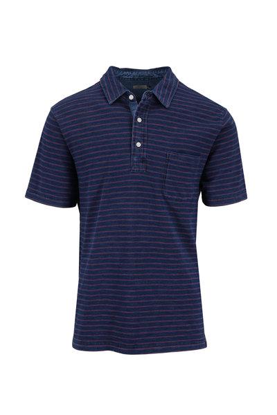 Faherty Brand - Indigo & Red Striped Short Sleeve Polo