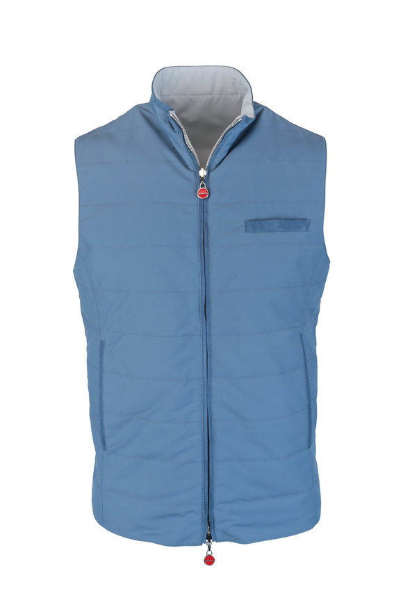 Kiton Blue & Gray Reversible Wool Blend Vest