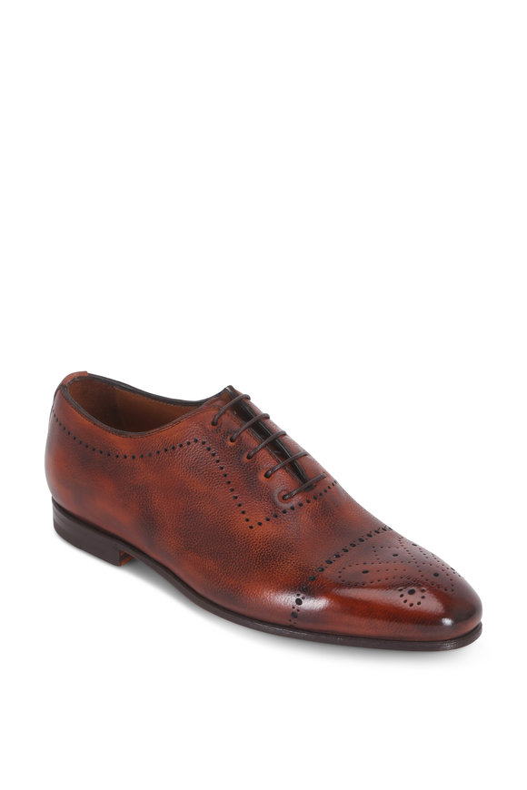Bontoni Brera Whiskey Burnished Leather Cap-Toe Derby