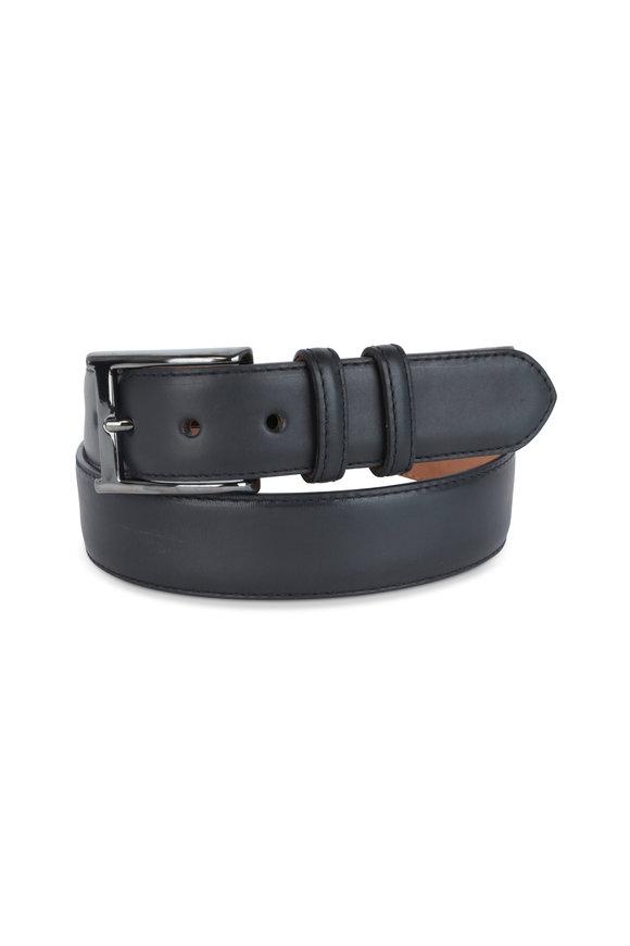 W Kleinberg Black Leather Belt