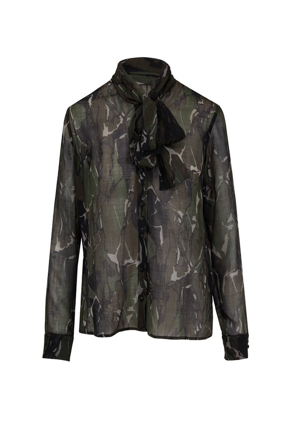 481acb45bc4e Saint Laurent Camouflage Green   Brown Bow-Neck Blouse