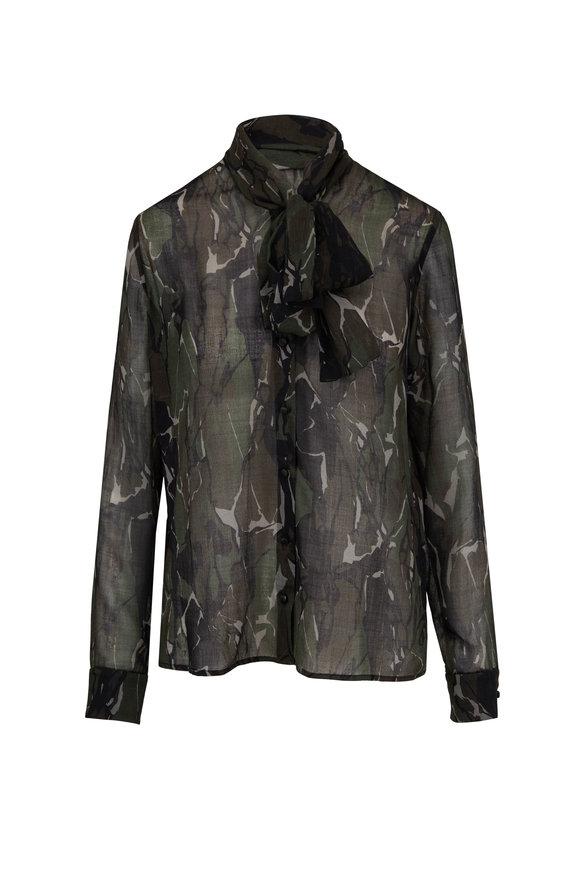Saint Laurent Camouflage Green & Brown Bow-Neck Blouse
