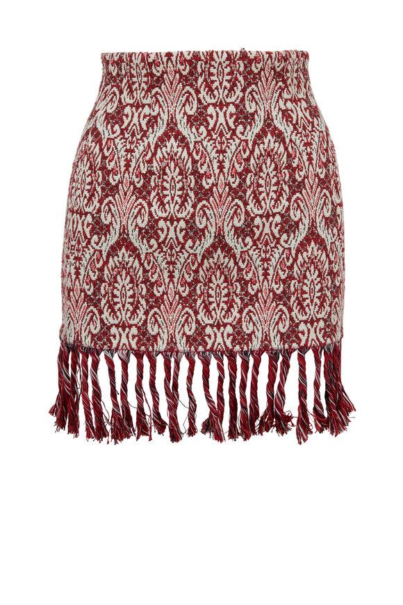 Chloé Red & White Jacquard Knit Tassel Hem Skirt