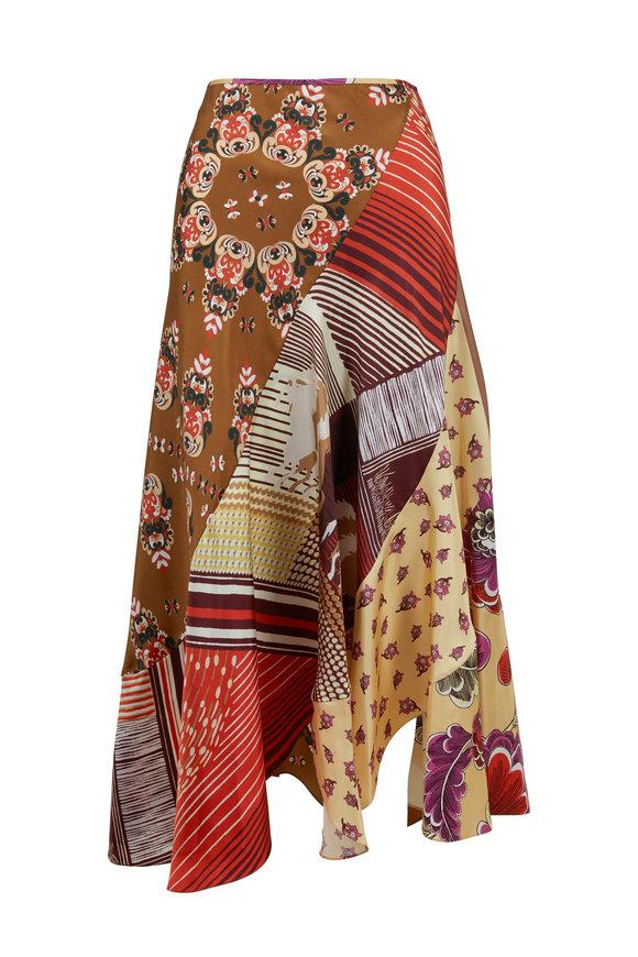 Chloé Multicolor Caravane Print Silk Midi Skirt