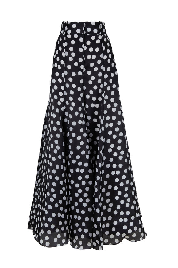 Carolina Herrera Black & White Polka Dot Wide Leg Silk Pant