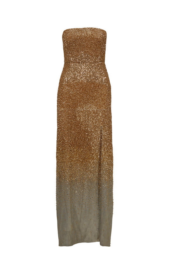 Oscar de la Renta Gold Silver Sequin Strapless Gown
