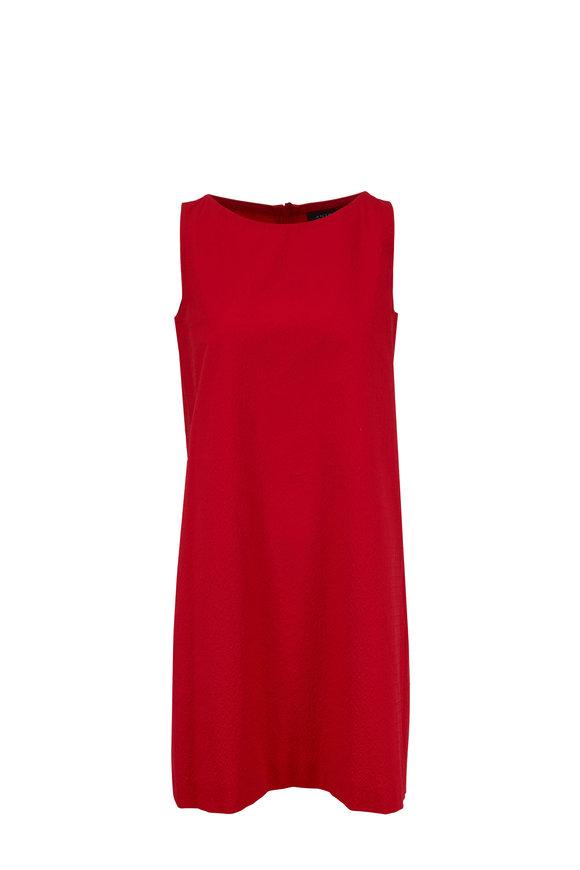 Antonelli Lilium Red Textured Sleeeveless Shift Dress