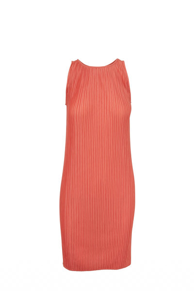 Antonelli - Coral Plisse Sleeveless Shift Dress