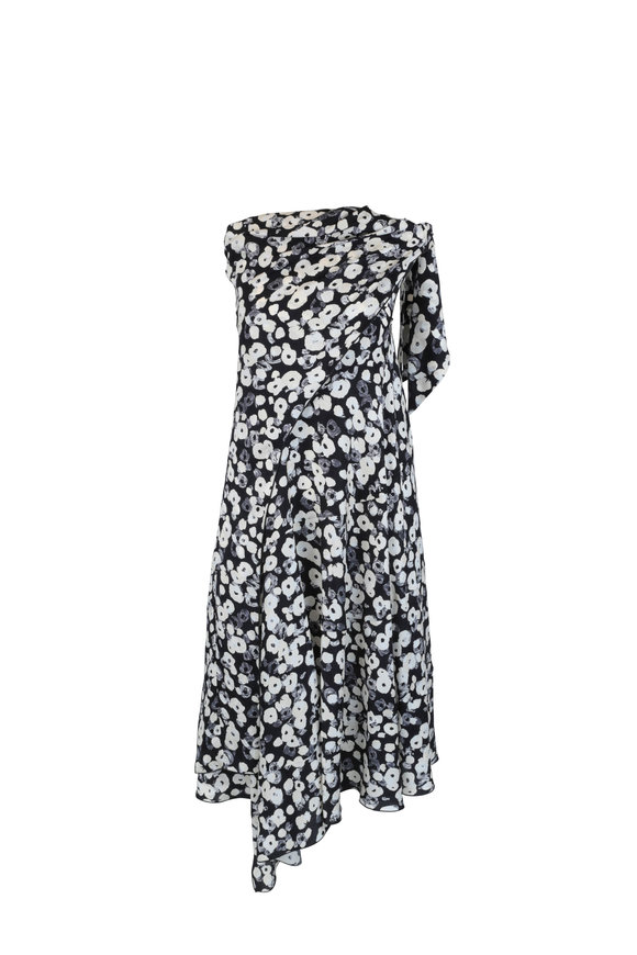 Derek Lam Black & Ivory Poppy Print Silk Strapless Dress