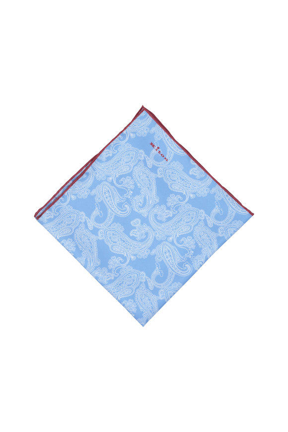Kiton Blue, White & Burgundy Paisley Silk Pocket Square