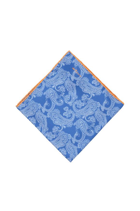 Kiton Blue, White & Orange Paisley Silk Pocket Square