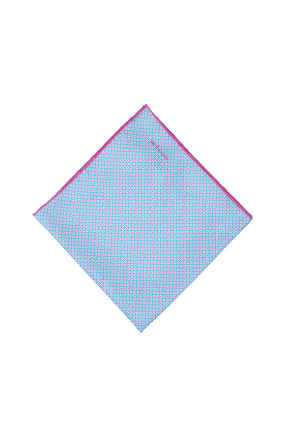 Kiton Blue & Magenta Geometric Silk Pocket Square