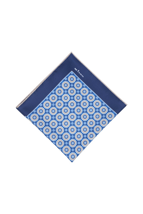 Kiton Blue Floral Silk Pocket Square