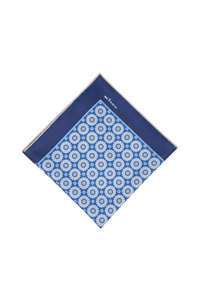 Kiton - Blue Floral Silk Pocket Square