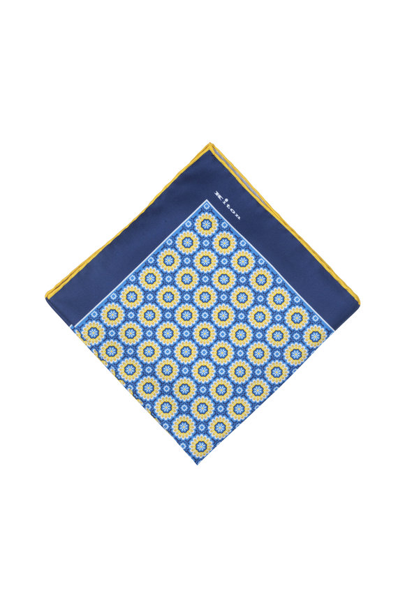 Kiton Blue & Yellow Floral Silk Pocket Square
