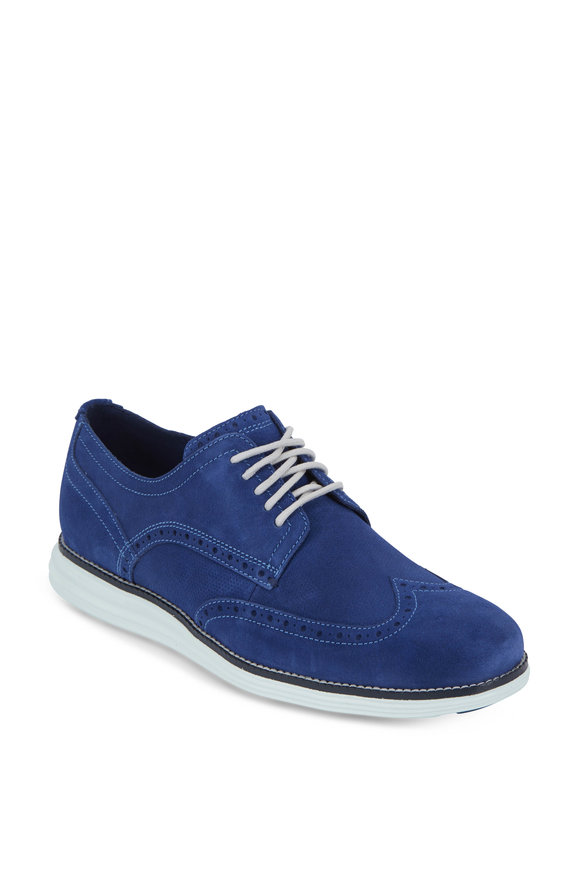 Cole Haan Original Grand Blue Suede Wingtip Oxford
