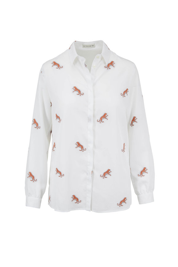 Etro White & Orange Tiger Blouse
