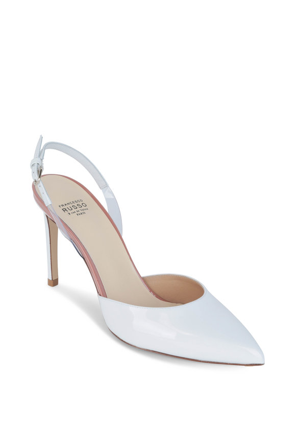 Francesco Russo  White Patent Leather & PVC Slingback, 90mm
