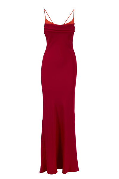 Cushnie - Cherry Red & Orange Two-Toned Racerback Gown