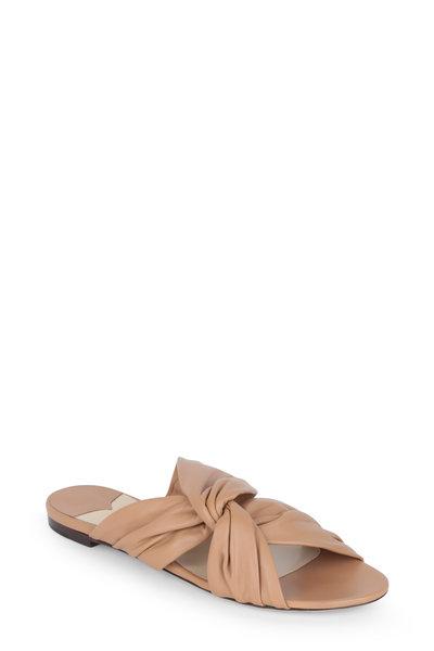 Jimmy Choo - Lela Caramel Leather Twist Slide Sandal