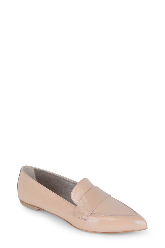 AGL Nude Patent Leather Pointed Toe Loafer