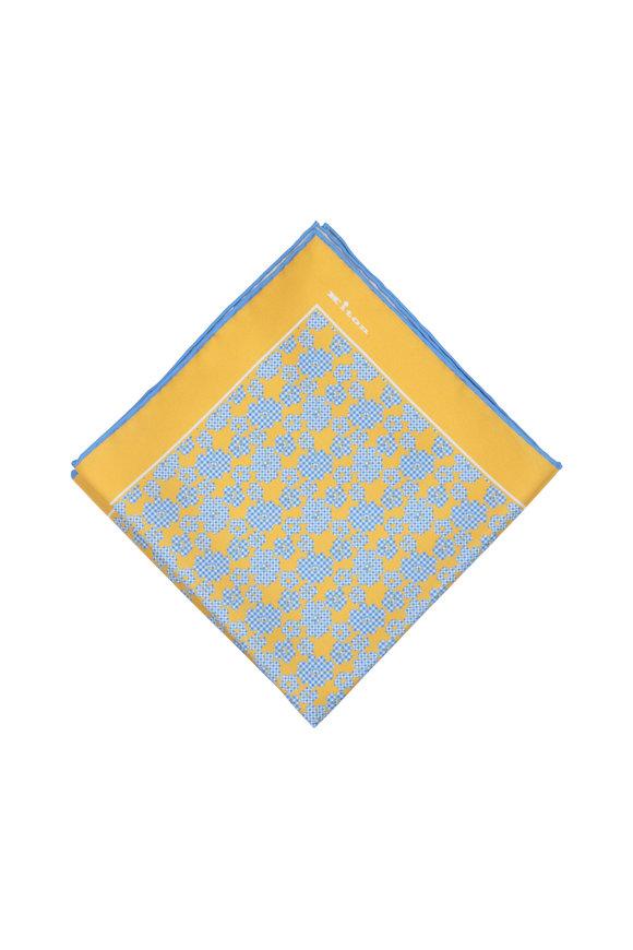 Kiton Yellow & Blue Floral Silk Pocket Square