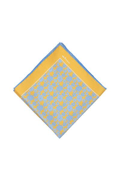 Kiton - Yellow & Blue Floral Silk Pocket Square