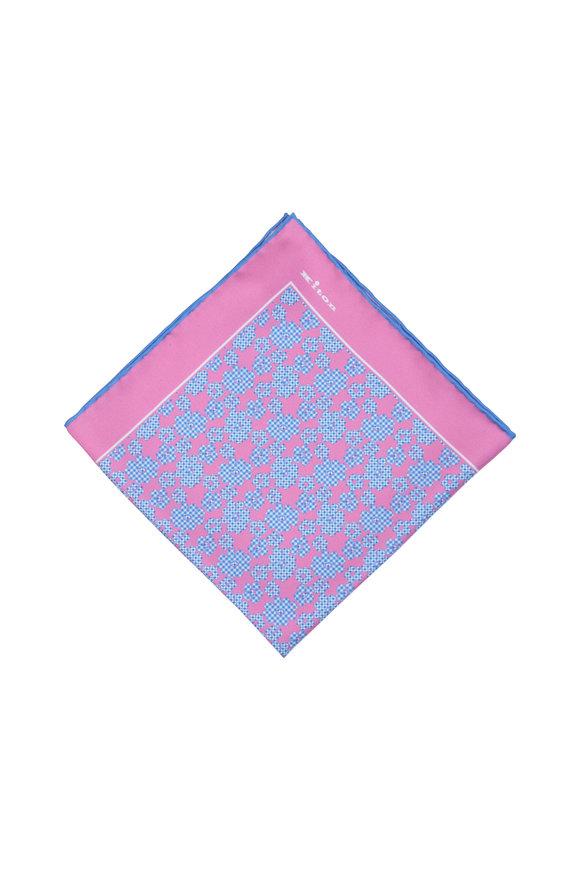 Kiton Pink & Blue Floral Silk Pocket Square