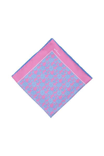 Kiton - Pink & Blue Floral Silk Pocket Square