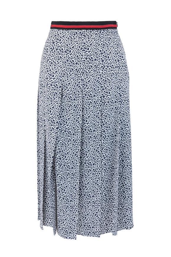 Paule Ka Blue & White Print Pleated Midi Skirt
