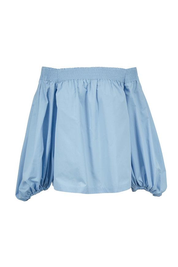 Derek Lam Pale Blue Cotton Off-The-Shoulder Blouse