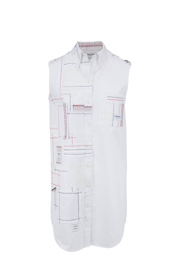 Thom Browne White Poplin Patchwork Sleeveless Dress