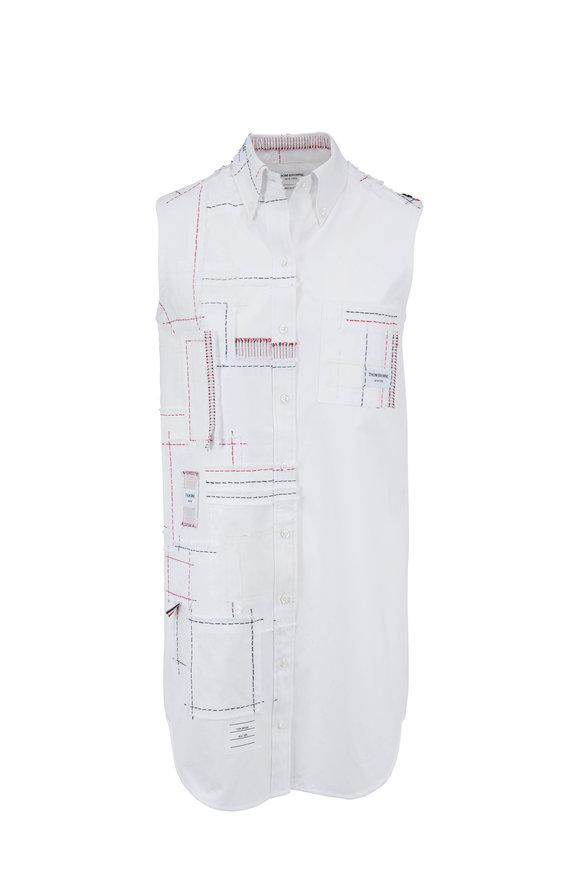 Thom Browne White Poplin Patchwork Sleeveless Dress