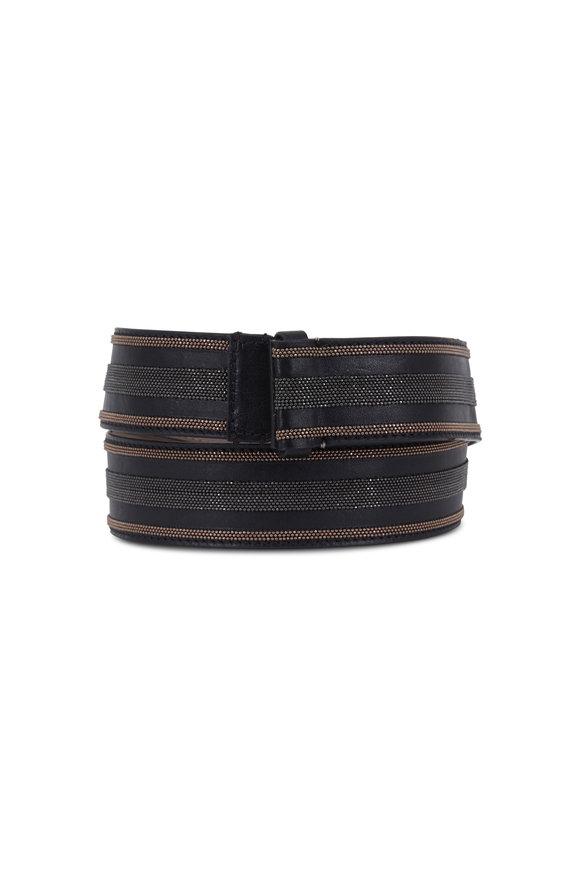 Brunello Cucinelli Black Leather Monili Striped Belt