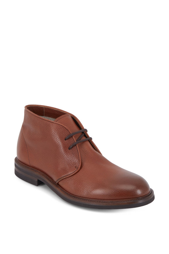 Brunello Cucinelli Chestnut Grained Leather Lace-Up Boot