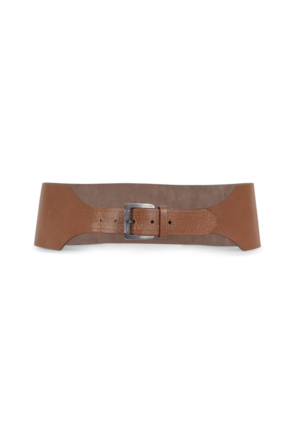 Brunello Cucinelli Nutmeg Leather Diamante Buckle Belt