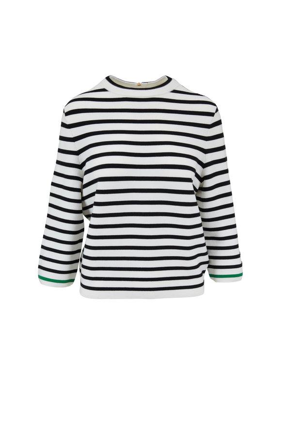 Bogner Mirabel White & Navy Striped Knit Top